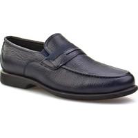Cabani Kemerli Bağcıksız Günlük Erkek Ayakkabı Lacivert Floter Deri