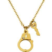 Chavin Sarı Anahtarlı Kelepçe Çelik Kadın Kolye dp57