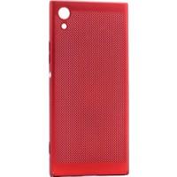 Teleplus Sony Xperia Xa1 Delikli Kapak Kılıf Kırmızı + Tam Kapatan Cam