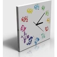 Arse Renkli Rakamlar Tablo Ve Saat İkisi Birarada 30x30 cm