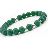 Tesbihane Gümüşlü Yeşil Akik Doğaltaş Bileklik