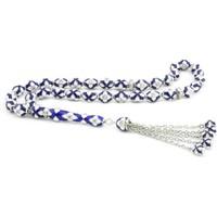 Tesbihane 925 Ayar Gümüş Özel Tasarım Mavi Beyaz Mineli Gümüş Tesbih
