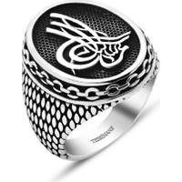Tesbihane 925 Ayar Gümüş Zincir Model Tuğralı Yüzük