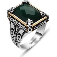 Tesbihane 925 Ayar Gümüş Yeşil Zirkon Taşlı Yüzük