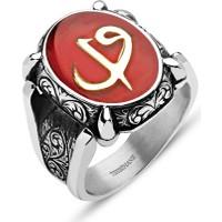 Tesbihane Kırmızı Mine Üzerine Elif Vav Harfli 925 Ayar Gümüş Oval Yüzük