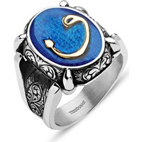 Tesbihane Mavi Mine Üzerine Vav Harfli 925 Ayar Gümüş Oval Yüzük