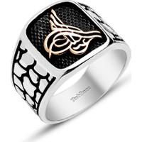 Tesbihane 925 Ayar Gümüş Tuğra Model Özel Tasarım Yüzük