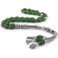 Tesbihane Gümüş Tuğra - Arma - 1453 Püsküllü Yeşil Akik Doğaltaş Tesbih