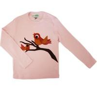 Decaf Plush Kuş Aplike Uzun Kollu T - Shirt