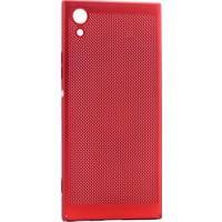 Kny Sony Xperia Xa1 Kılıf İnce Delikli Sert Arka Kapak Rubber + Kırılmaz Cam - Kırmızı
