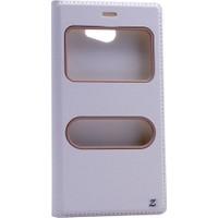 Kny General Mobile Gm6 Kılıf Gizli Mıknatıslı Pencereli + Kırılmaz Cam - Beyaz
