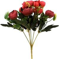 Hunga Fındık Şakaik 9 Top Demet Yapay Çiçek Kırmızı-Bordo