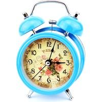 Hunga Alarmlı Metal Masa Saati Çiçek Desenli Mavi
