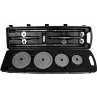 Delta Deluxe Parlak Gri Döküm Plaka & Deluxe Krom Barlı 50 Kg. Tekerlekli Çantalı Set - DS 96543