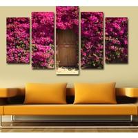 7Renk Dekor Mor Çiçekli Kapı Dekoratif 5 Parça Mdf Tablo
