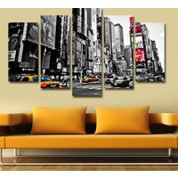 7Renk Dekor Şehir Manzara Dekoratif 5 Parça Mdf Tablo