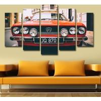 7Renk Dekor Kırmızı Klasik Araba Dekoratif 5 Parça Mdf Tablo