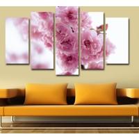 7Renk Dekor Pembe Çiçekler Dekoratif 5 Parça Mdf Tablo
