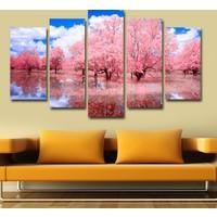 7Renk Dekor Ağaç ve Göl Manzara Dekoratif 5 Parça Mdf Tablo