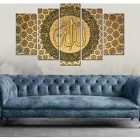 7Renk Dekor Allah Lafzı Dini Motifli Dekoratif 5 Parça Mdf Tablo
