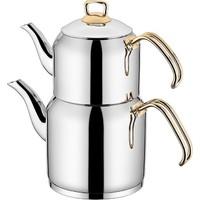 Sıla Truva Gold 3,5 Litre Aile Boy Çelik Çaydanlık Takımı