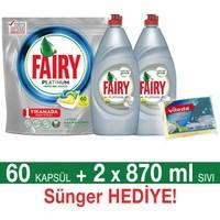 Fairy Platinum Bulaşık Makinesi Deterjanı Kapsülü Limon Kokulu 60 Yıkama + Platinum Sıvı Bulaşık Deterjanı Limon 870 ml 2'li Paket + Fairy Sünger