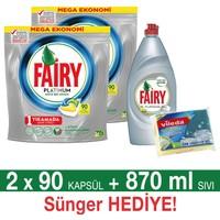 Fairy Platinum Bulaşık Makinesi Deterjanı Kapsülü Limon Kokulu 90 Yıkama 2'li Paket + Platinum Sıvı Bulaşık Deterjanı Limon 870 ml + Fairy Sünger