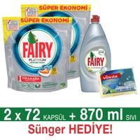 Fairy Platinum Bulaşık Makinesi Deterjanı Kapsülü Portakal Kokulu 72 Yıkama 2 'li Paket + Platinum Sıvı Bulaşık Deterjanı 870 ml (Sünger Hediye)