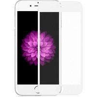 Case 4U Apple iPhone 6 Plus Full Kapatan Mat Parmak İzi Bırakmayan Cam Ekran Koruyucu Beyaz