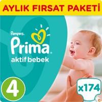 Prima Bebek Bezi Aktif Bebek 4 Beden Maxi Aylık Fırsat Paketi 174 Adet