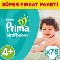 Prima Bebek Bezi Aktif Bebek 4+ Beden Maxi Plus Süper Fırsat Paketi 78 Adet