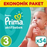 Prima Bebek Bezi Aktif Bebek Ekonomik Paket 3 Beden 54 Adet