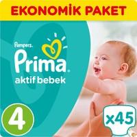 Prima Bebek Bezi Aktif Bebek Ekonomik Paket 4 Beden 45 Adet