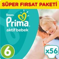 Prima Bebek Bezi Aktif Bebek 6 Beden Ekstra Large Süper Fırsat Paketi 56 Adet