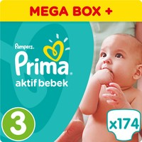 Prima Bebek Bezi Aktif Bebek 3 Beden Midi Mega Box Plus Paket 174 Adet