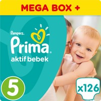 Prima Bebek Bezi Aktif Bebek 5 Beden Junior Mega Box Plus Paket 126 Adet