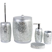 Çağ Deccor Polyester 5 Parça Banyo Seti Gümüş