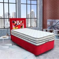 HomeShoppingMall Tek Kişilik Baza+Yatak+Başlık Mickey Mouse V2