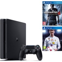 Sony Ps4 Slim 1 Tb Oyun Konsolu + Ps4 Uncharted 4 + Ps4 Fifa 18 (İthalatçı Garantili)