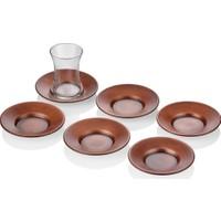 The Mia Bakır Kaplama Çay Tabağı - 6 Lı Set