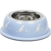 Nobby Renkli Plastik Çelik Hazneli Kedi Mama ve Su Kabı 200 ml Mavi