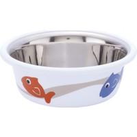 Nobby CUTİE Paslanmaz Çelik Kaydırmaz Balık Desenli 0,25 L 9,5 cm Beyaz