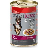 Nutrilove Tahılsız Sığır Etli Ciğerli Parça Etli Köpek Konservesi 400 Gr
