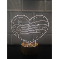 By-Lamp 3 Boyutlu Müzik Aşkı Lamba