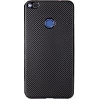 Case 4U Huawei P9 Lite 2017 Kılıf Karbon Silikon Siyah + Cam Ekran Koruyucu