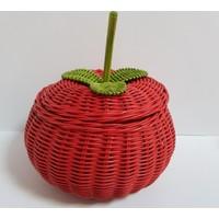 3er Hasır Örgü Elma Model Çok Amaçlı Sepet 15 x 18 cm