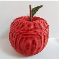 3er Hasır Örgü Elma Model Çok Amaçlı Sepet 19 x 21 cm