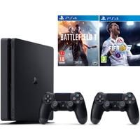 Sony Ps4 Slim 500Gb Oyun Konsolu + 2. Ps4 Kol + Ps4 Battlefield 1 + Ps4 Fifa 18 ( İthalatçı Garantili )