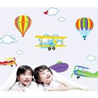 Bigwall Uçaklar ve Balonlar Bulutlu Gökyüzü Duvar Stickerı Çocuk Odası Dekorasyon Sticker
