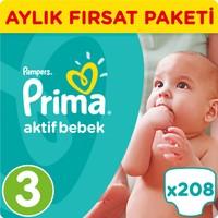 Prima Bebek Bezi Aktif Bebek 3 Beden Midi Aylık Fırsat Paketi 208 Adet
